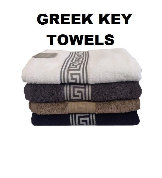 Simon Baker | Greek Key Bath Towels 600 GMS (Various Colours)