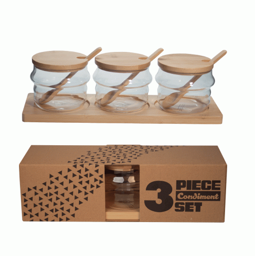 3PC CONDIMENT SET W/WOODEN SPOON & TRAY