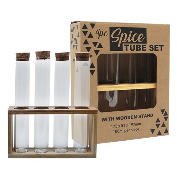 4PC Spice Tubes Set Wooden Stand in Gift Box 100ML/PC