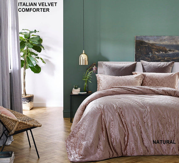 Simon Baker | Italian Velvet Comforter Natural Queen/King