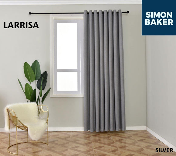 Simon Baker | Larissa Eyelet Silver Curtain (Various Sizes)