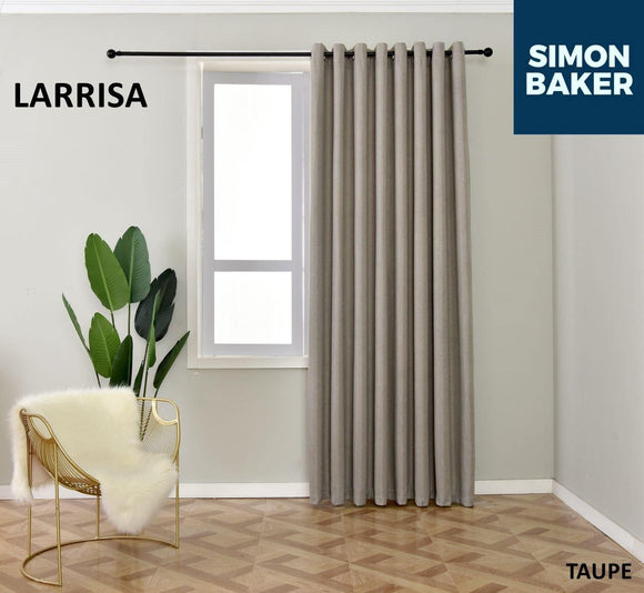 Simon Baker | Larissa Eyelet Taupe Curtain (Various Sizes)