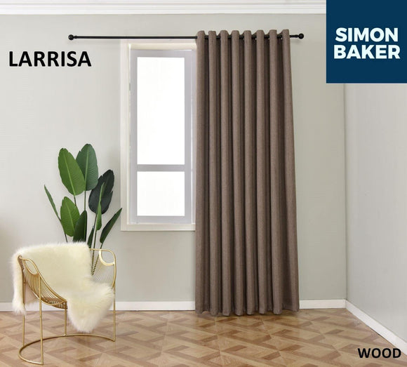 Simon Baker | Larissa Eyelet Wood Curtain (Various Sizes)