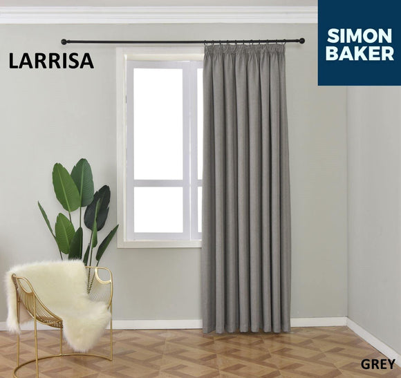 Simon Baker | Larissa Tape Grey Curtain (Various Sizes)