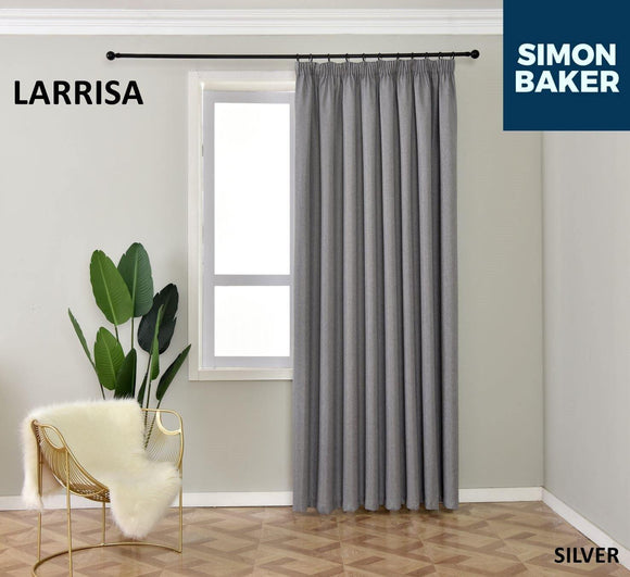 Simon Baker | Larissa Tape Silver Curtain (Various Sizes)