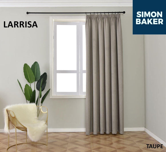 Simon Baker | Larissa Tape Taupe Curtain (Various Sizes)