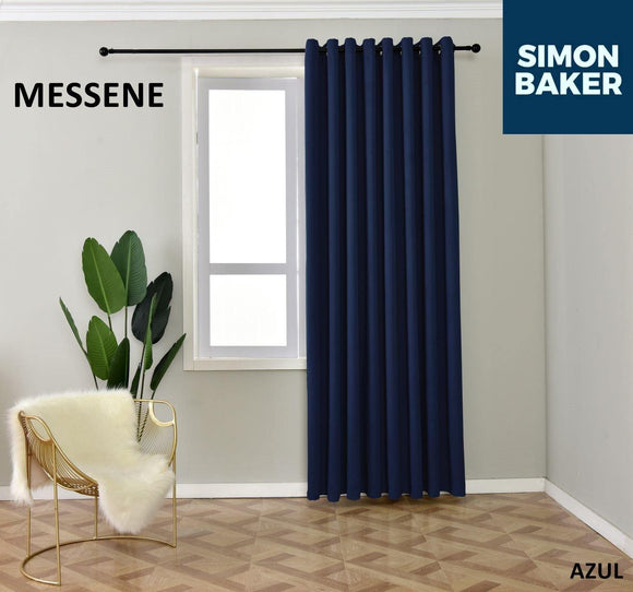 Simon Baker | Messene Eyelet Azul Curtain (Various Sizes)