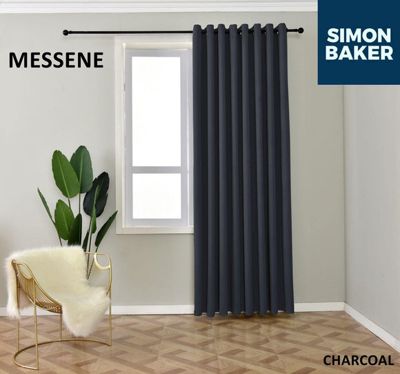 Simon Baker | Messene Eyelet Charcoal Curtain (Various Sizes)