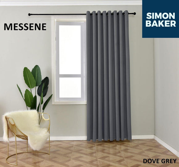 Simon Baker | Messene Eyelet Dove Grey Curtain (Various Sizes)