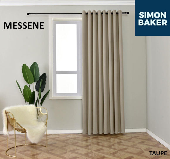 Simon Baker | Messene Eyelet Taupe Curtain (Various Sizes)
