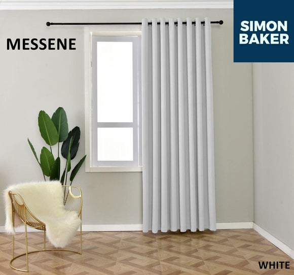 Simon Baker | Messene Eyelet White Curtain (Various Sizes)