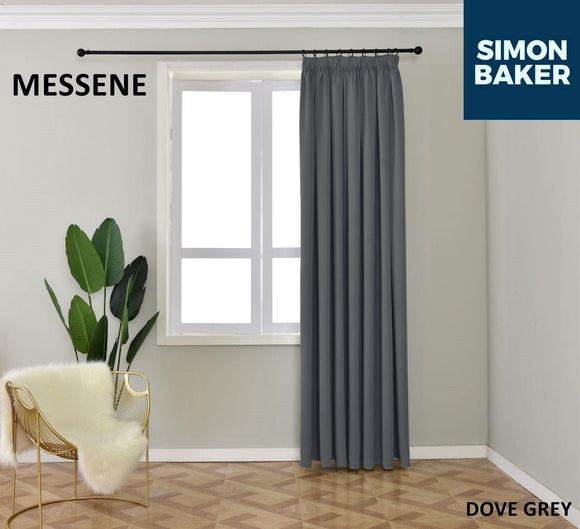 Simon Baker | Messene Tape Dove Grey Curtain (Various Sizes)