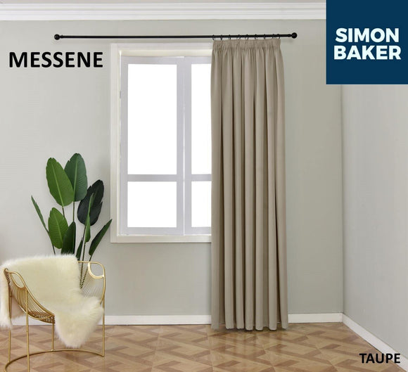 Simon Baker | Messene Tape Taupe Curtain (Various Sizes)