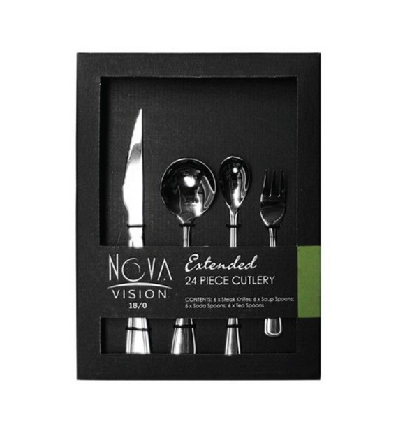 24PC NOVA VISION Extended Cutlery Set In Box