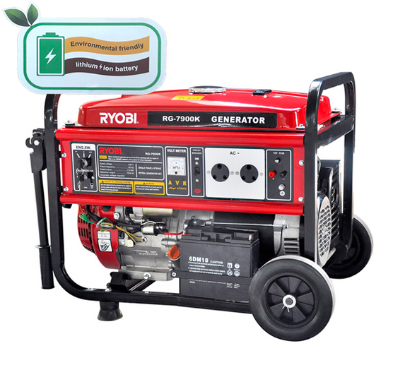 RYOBI | Generator Max 7.9kva Cons. 7kva 4-Stroke With Battery + Key Start RG-7900K