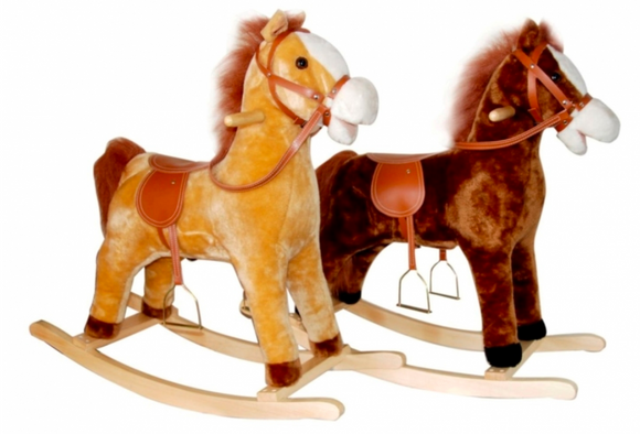 Kids Playtime | 23 INCH ROCKING HORSE WITH SOUND BROWN/BEIGE - ASSORTED