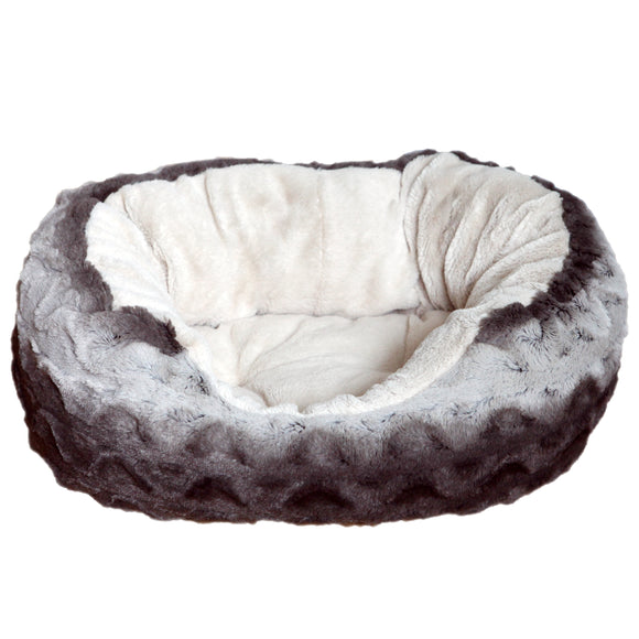Rosewood Grey & Cream Snuggle Plush Oval Doggy Bed