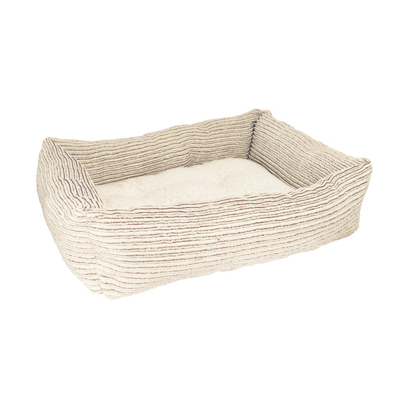 Rosewood Beige Jumbo Cord/Teddy Square Dog Bed
