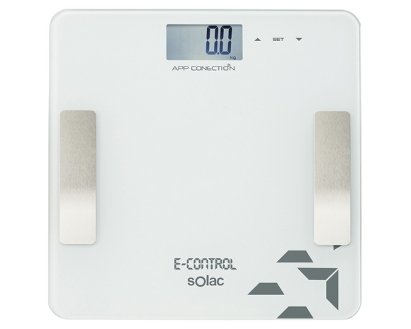 Solac Bathroom Scale Auto Off Switch LED Display Glass White