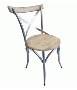 Cross Back Dining Chair Distressed White Mango
