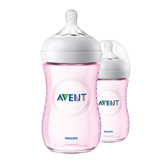 Philips AVENT Natural Feeding Bottle 260ml - PINK Twin Pack