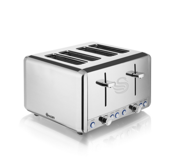 SWAN Classic 4 Slice Polished Stainless Steel Toaster