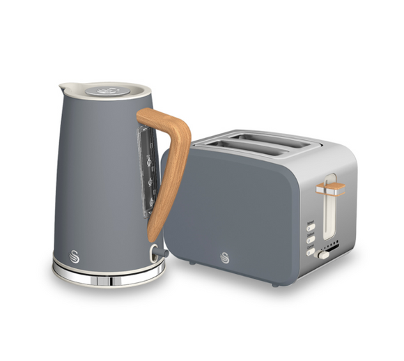 SWAN Nordic Polished Stainless Steel Cordless Kettle & 2 Slice Toaster