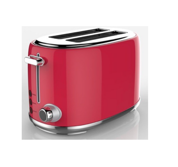 SWAN 2 Slice Stainless Steel Red Toaster
