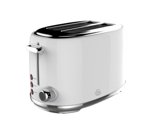 SWAN 2 Slice Stainless Steel Pearl White Toaster