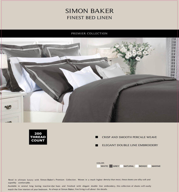 Simon Baker | T200 Cotton Double Satin Stitched Duvet Cover Set Grey (Various Sizes)