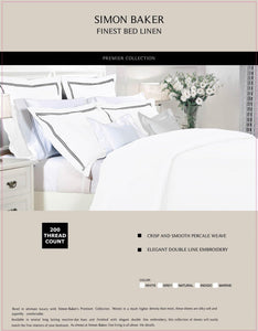 Simon Baker | T200 Cotton Double Satin Stitched Duvet Cover Set White (Various Sizes)