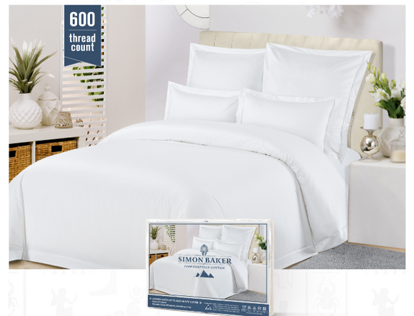 Simon Baker | 600 Tread Count 100% EGYPTIAN COTTON Duvet Cover White (Various Sizes)
