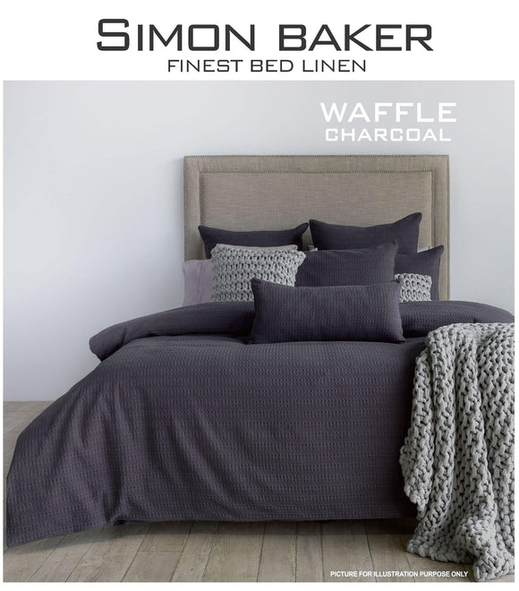 Simon Baker | Waffle Weave Cotton Duvet Cover Set Charcoal (Various Sizes)
