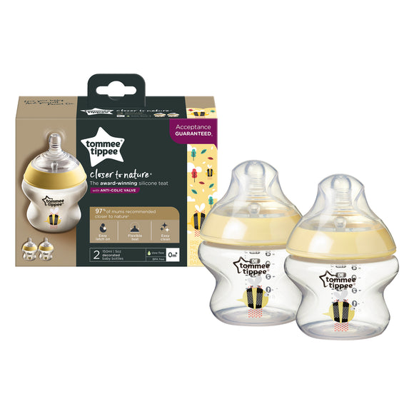 Tommee Tippee | CTN 260ML BABY BOTTLE 2PK - DECORATED 0M+ (Yellow)