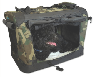 Pet Carrier | Cosmic Pets Collapsible Pet Carrier with Privacy Curtains Camo