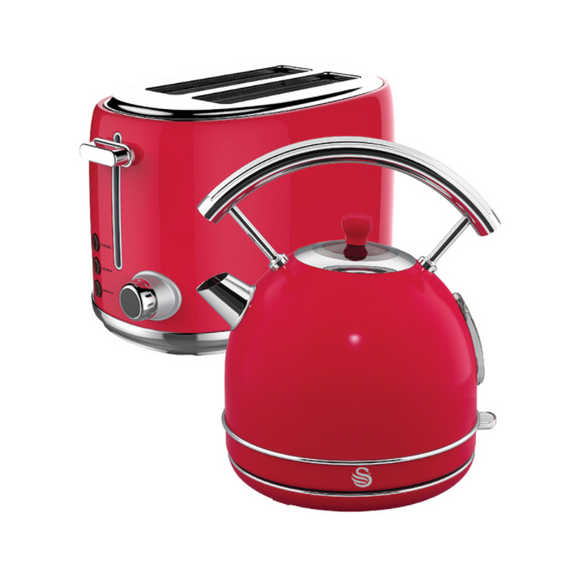 SWAN Red Retro Dome Cordless Kettle & 2 Slice Toaster