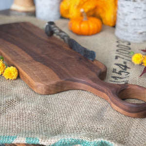 Tornado Cutting Board & Railroad Spike Knife