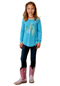 Roper Girls Long Sleeve Kids Turquoise Cactus T-shirt