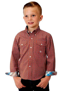 Boy's Roper Orange/Teal Western Shirt