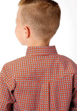 Load image into Gallery viewer, Boy's Roper Orange/Teal Western Shirt