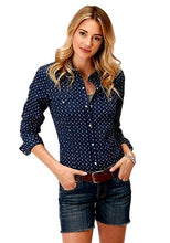 Load image into Gallery viewer, Roper Women's Navy & White Western Shirt