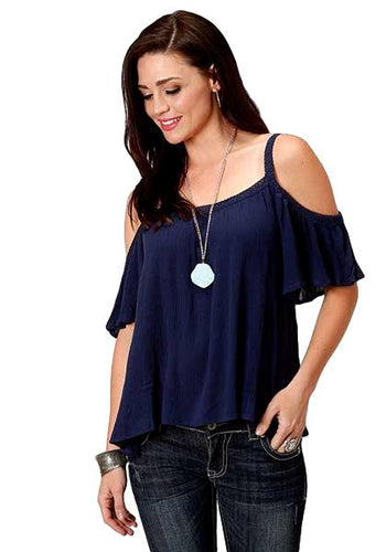 Roper Women's Navy Cold Shoulder Top