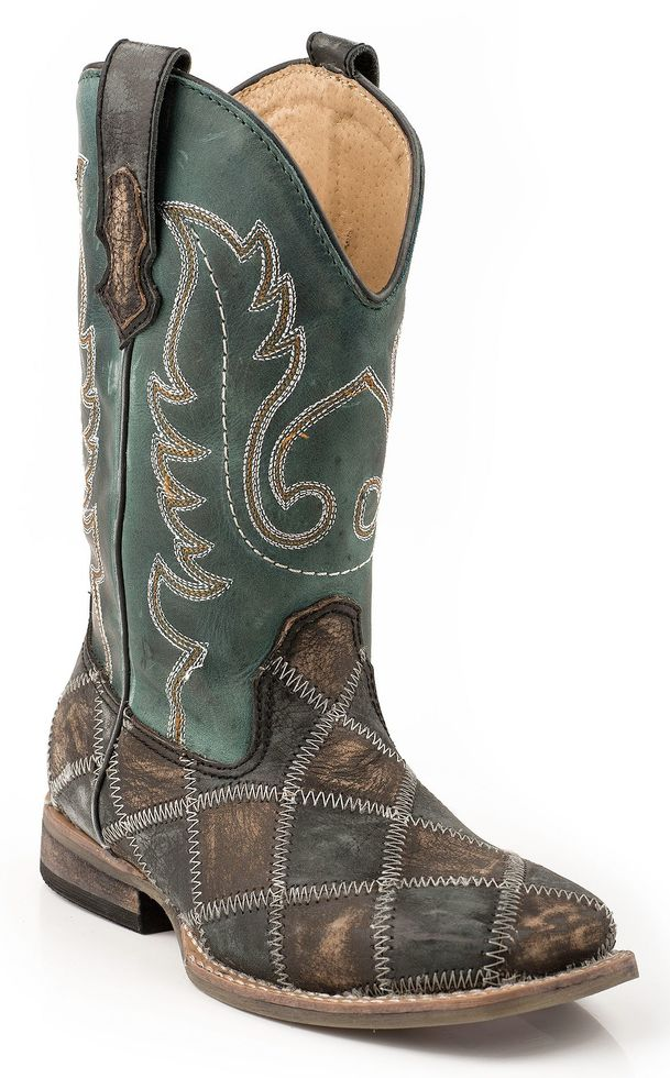 Roper Boys' Patchwork Cowboy Boots - Square Toe