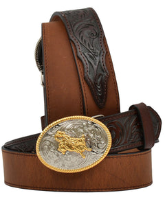 3D Kid's Floral and Solid Leather Western Belt