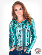Load image into Gallery viewer, Cowgirl Tuff Teal/Black Aztec Faux Button Up
