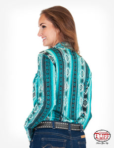 Cowgirl Tuff Teal/Black Aztec Faux Button Up
