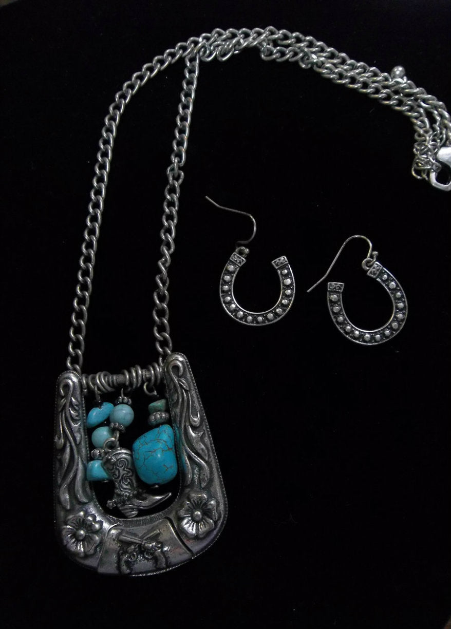 SIlver Strike Necklace & Earring Set Horseshoe w/Charms
