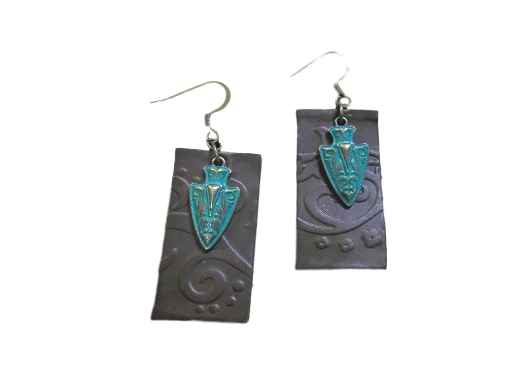 Bead Freaks Tooled Leather Earrings w/Turquoise Arrowhead Charms