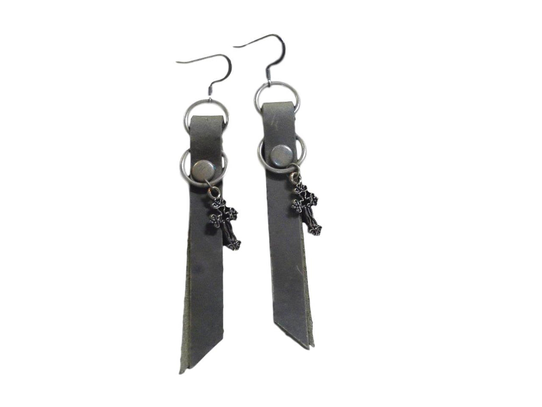 Bead Freaks Leather Ribbons w/ Crosses Earrings