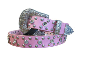 Girls Pink Belt W/Bling